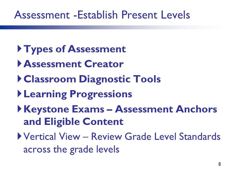 Types of Assessment Assessment Creator Classroom Diagnostic Tools Learning Progressions Keystone Exams – Assessment Anchors and Eligible Content Verti