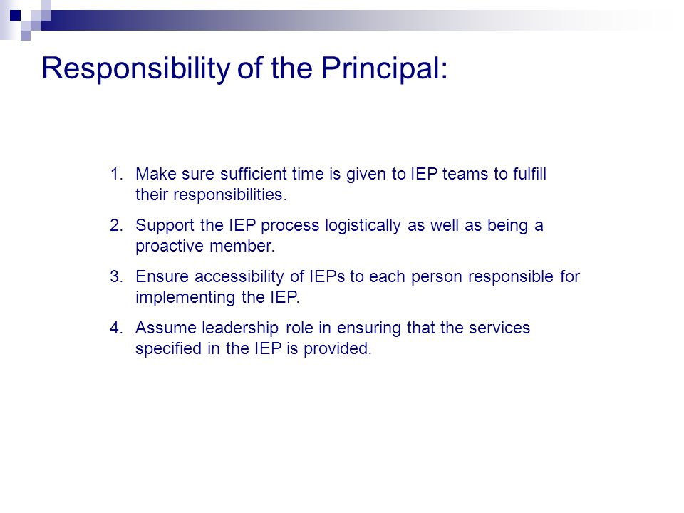 Responsibility of the Principal: 1.Make sure sufficient time is given to IEP teams to fulfill their responsibilities. 2.Support the IEP process logist