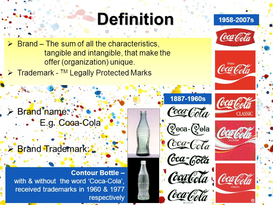 Definition Brand – The sum of all the characteristics, tangible and intangible, that make the offer (organization) unique. Trademark - TM Legally Prot