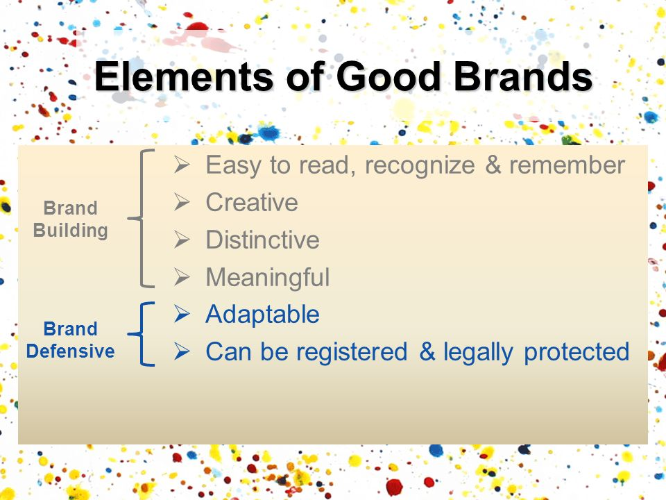 Easy to read, recognize & remember Creative Distinctive Meaningful Adaptable Can be registered & legally protected Elements of Good Brands Brand Build