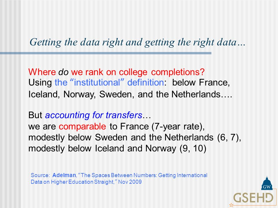 Getting the data right and getting the right data… Where do we rank on college completions.