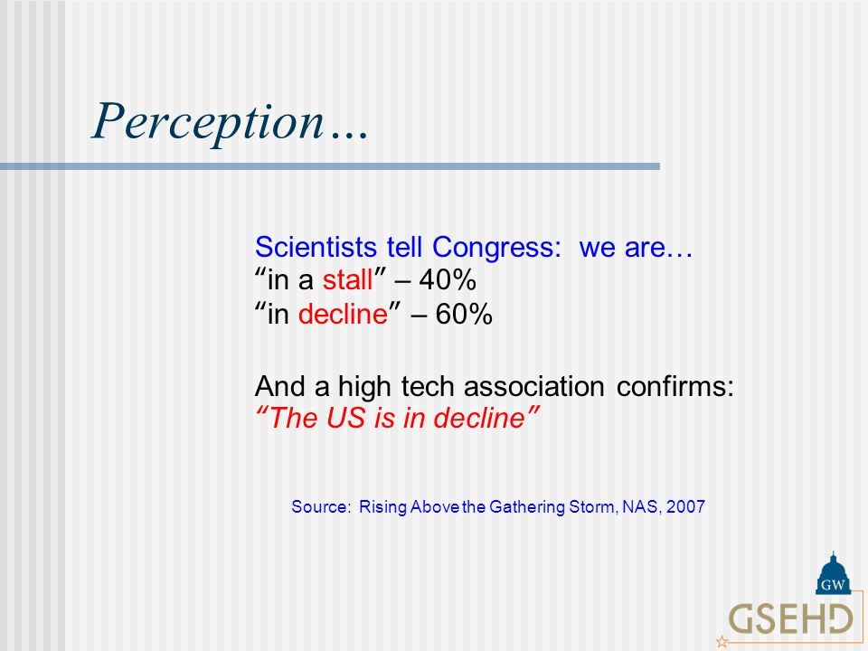 Perception… Source: Rising Above the Gathering Storm, NAS, 2007 Scientists tell Congress: we are… in a stall – 40% in decline – 60% And a high tech association confirms: The US is in decline