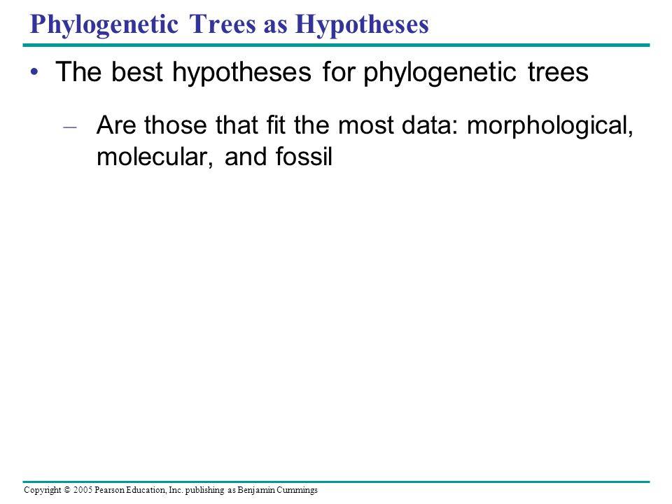 Copyright © 2005 Pearson Education, Inc. publishing as Benjamin Cummings Phylogenetic Trees as Hypotheses The best hypotheses for phylogenetic trees –