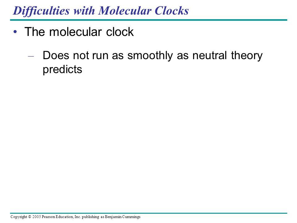 Copyright © 2005 Pearson Education, Inc. publishing as Benjamin Cummings Difficulties with Molecular Clocks The molecular clock – Does not run as smoo