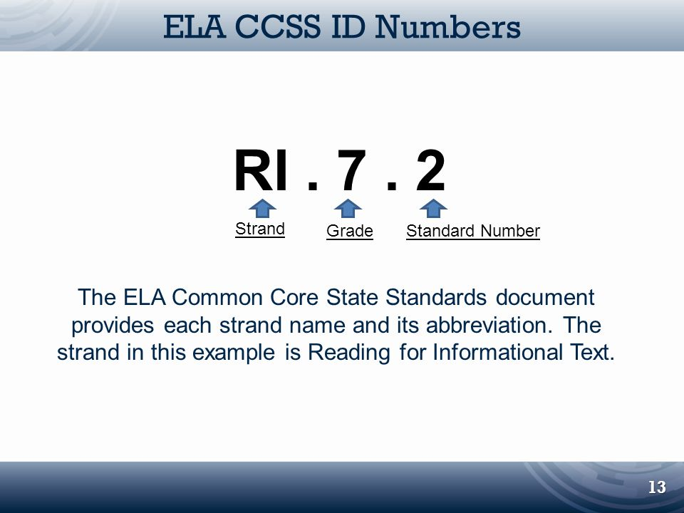 ELA CCSS ID Numbers 13 RI. 7. 2 Grade Strand Standard Number The ELA Common Core State Standards document provides each strand name and its abbreviati