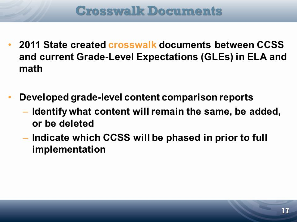 2011 State created crosswalk documents between CCSS and current Grade-Level Expectations (GLEs) in ELA and math Developed grade-level content comparis