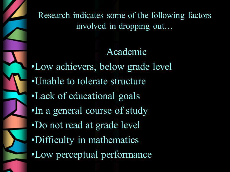Research indicates some of the following factors involved in dropping out… Academic Low achievers, below grade level Unable to tolerate structure Lack