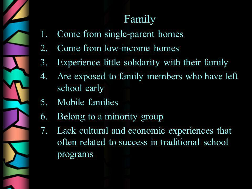 Family 1.Come from single-parent homes 2.Come from low-income homes 3.Experience little solidarity with their family 4.Are exposed to family members who have left school early 5.Mobile families 6.Belong to a minority group 7.Lack cultural and economic experiences that often related to success in traditional school programs
