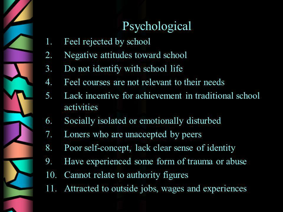 Psychological 1.Feel rejected by school 2.Negative attitudes toward school 3.Do not identify with school life 4.Feel courses are not relevant to their