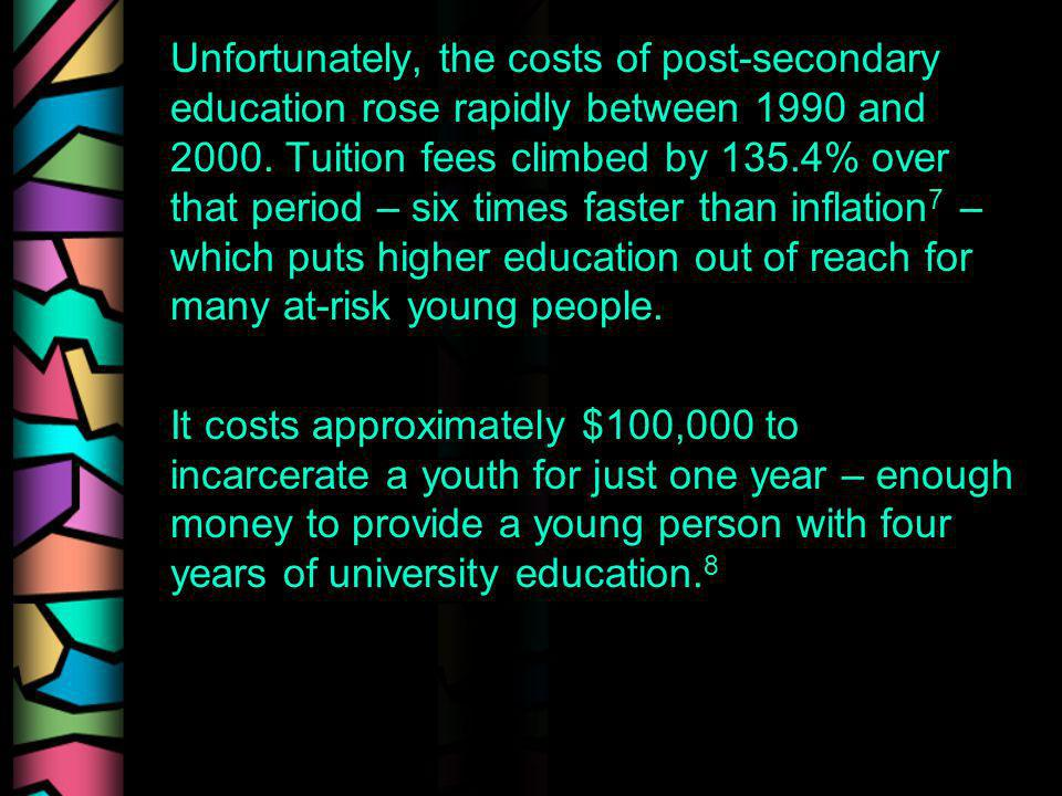 Unfortunately, the costs of post-secondary education rose rapidly between 1990 and 2000. Tuition fees climbed by 135.4% over that period – six times f