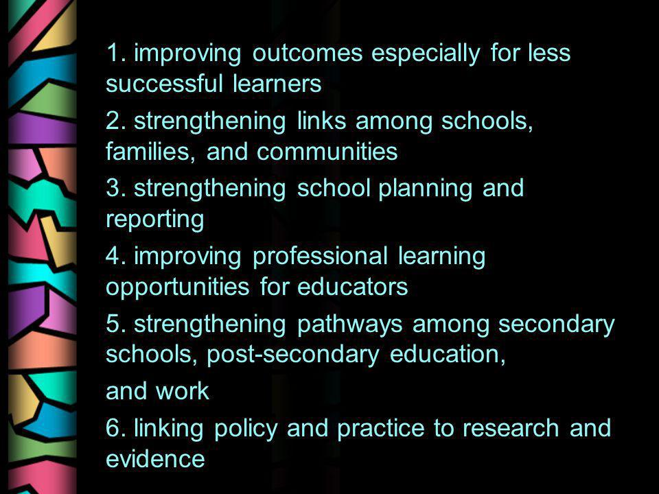 1. improving outcomes especially for less successful learners 2. strengthening links among schools, families, and communities 3. strengthening school