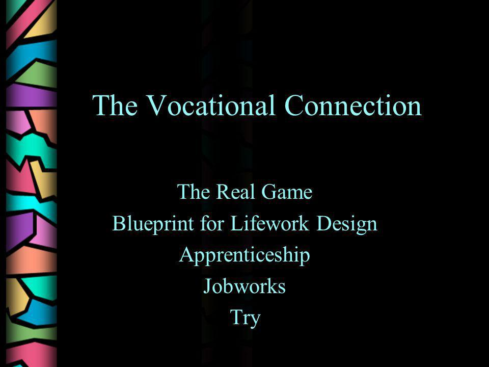 The Vocational Connection The Real Game Blueprint for Lifework Design Apprenticeship Jobworks Try