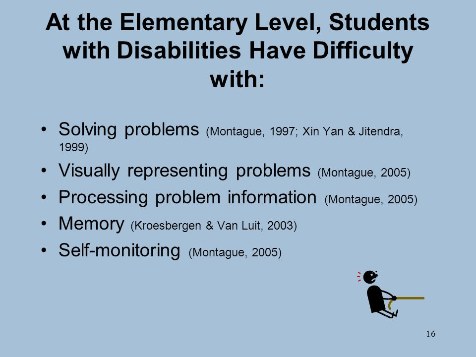 16 At the Elementary Level, Students with Disabilities Have Difficulty with: Solving problems (Montague, 1997; Xin Yan & Jitendra, 1999) Visually representing problems (Montague, 2005) Processing problem information (Montague, 2005) Memory (Kroesbergen & Van Luit, 2003) Self-monitoring (Montague, 2005)