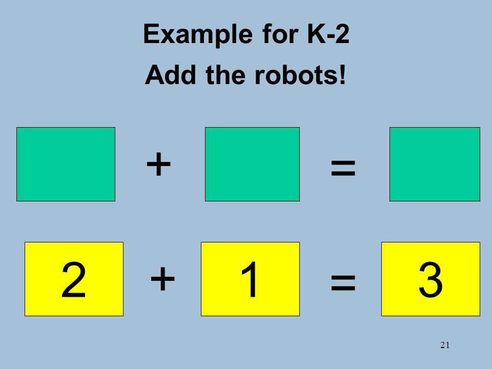 21 Example for K-2 Add the robots! + + = = 213