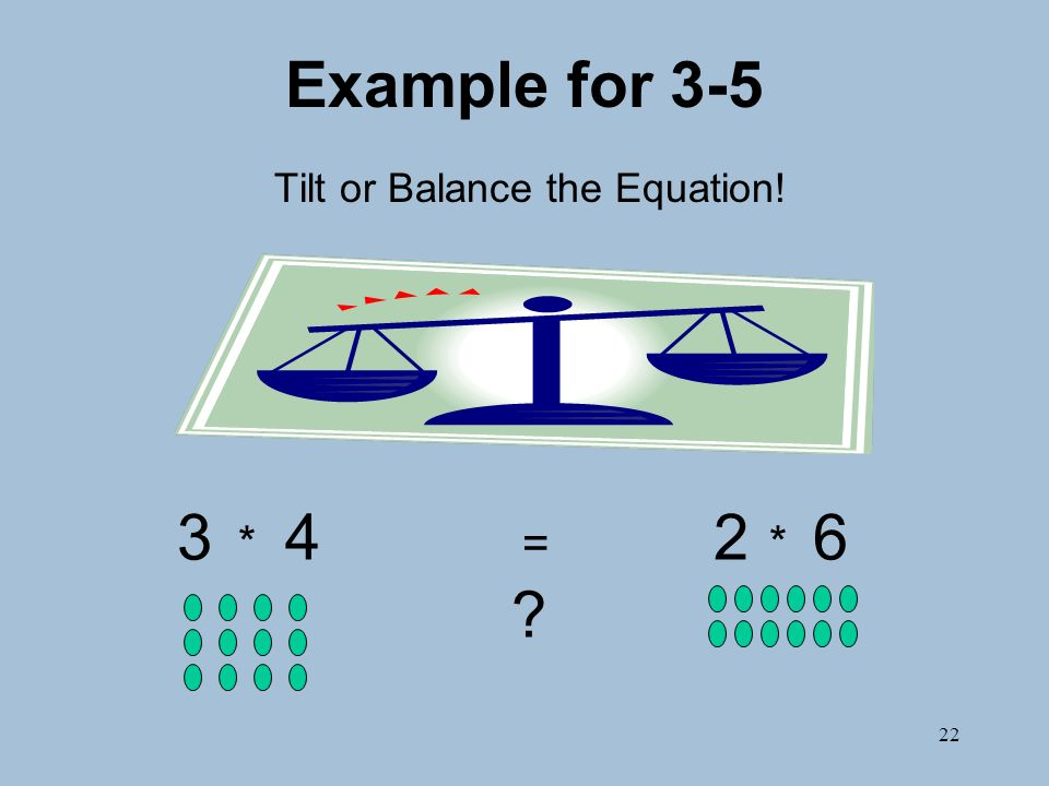 22 Example for 3-5 Tilt or Balance the Equation! 3 * 4 = 2 * 6