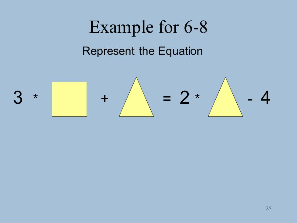 25 Example for 6-8 Represent the Equation 3 * + = 2 * - 4