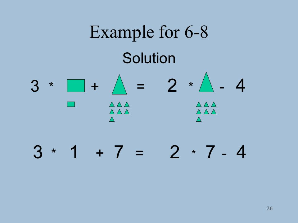26 Example for 6-8 3 * + = 2 * - 4 3 * 1 + 7 = 2 * 7 - 4 Solution