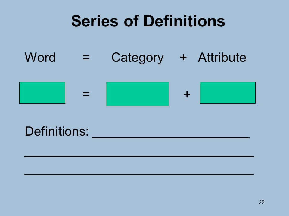 39 Series of Definitions Word=Category +Attribute = + Definitions: ______________________ ________________________________