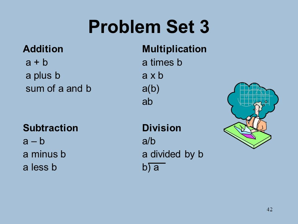 42 Problem Set 3 AdditionMultiplication a + ba times b a plus ba x b sum of a and ba(b) ab SubtractionDivision a – ba/b a minus ba divided by b a less bb) a