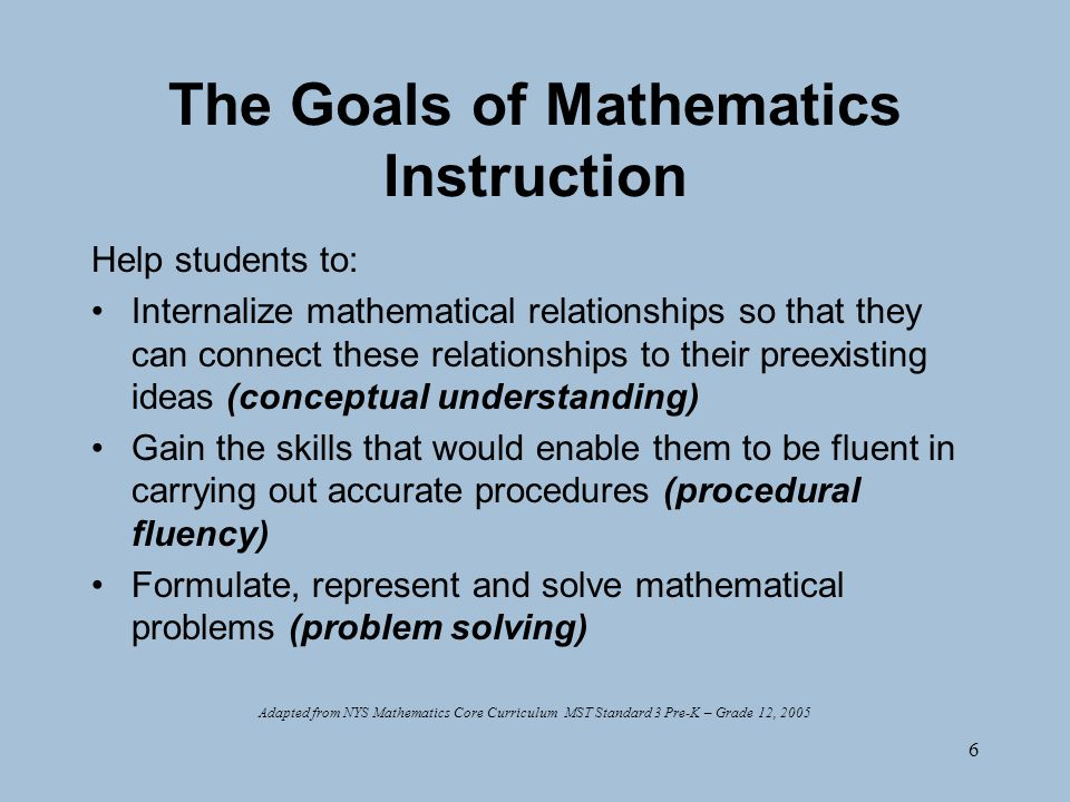 6 The Goals of Mathematics Instruction Help students to: Internalize mathematical relationships so that they can connect these relationships to their preexisting ideas (conceptual understanding) Gain the skills that would enable them to be fluent in carrying out accurate procedures (procedural fluency) Formulate, represent and solve mathematical problems (problem solving) Adapted from NYS Mathematics Core Curriculum MST Standard 3 Pre-K – Grade 12, 2005