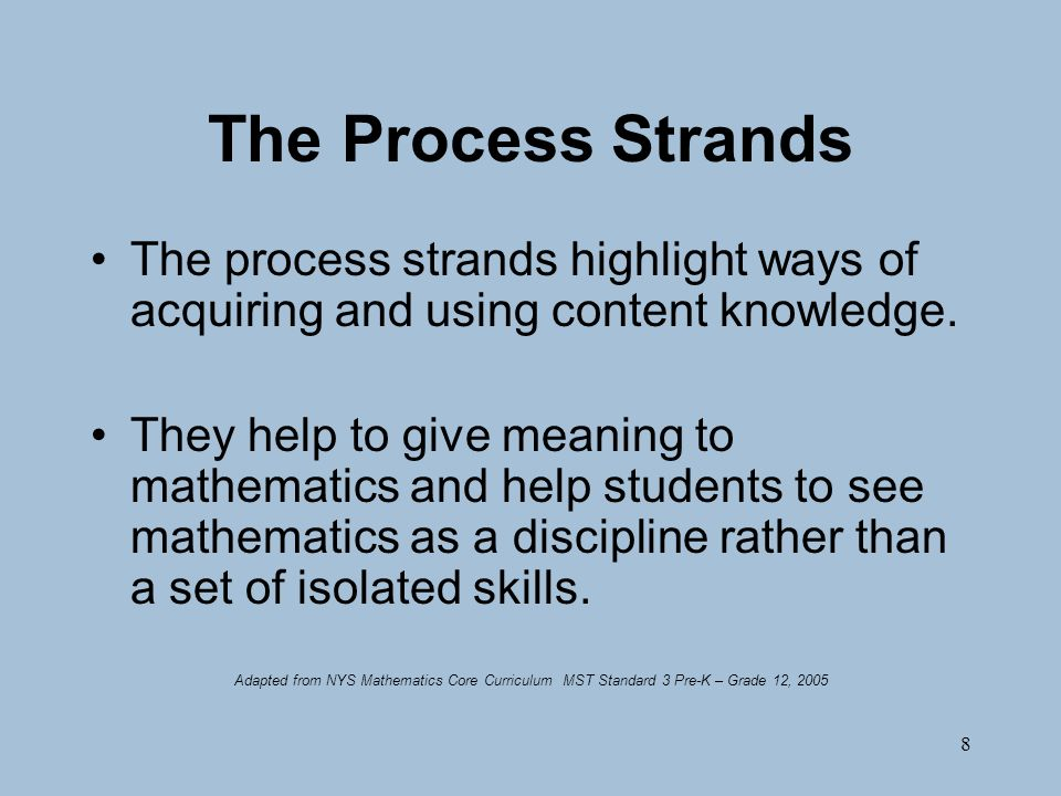 8 The Process Strands The process strands highlight ways of acquiring and using content knowledge.