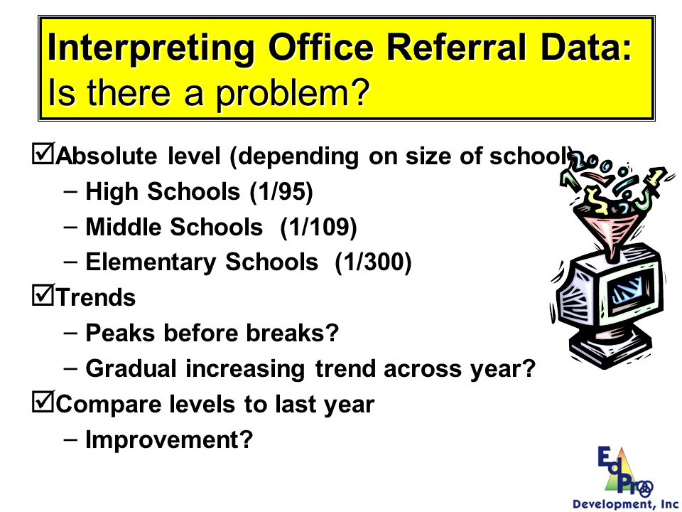 Interpreting Office Referral Data: Is there a problem? Absolute level (depending on size of school) – – High Schools (1/95) – – Middle Schools (1/109)