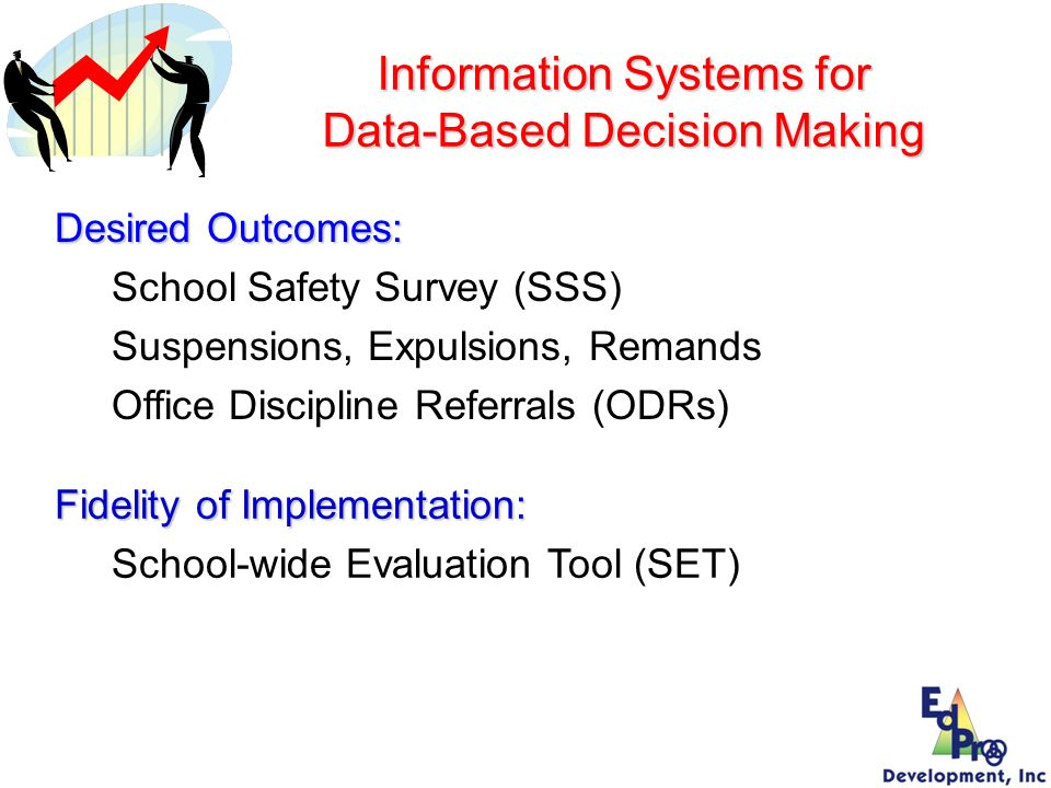 Information Systems for Data-Based Decision Making Fidelity of Implementation: School-wide Evaluation Tool (SET) Desired Outcomes: School Safety Surve