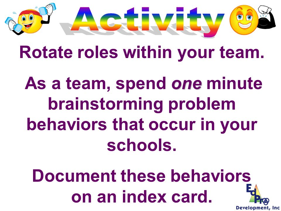 3Identify & Define School-Wide Rules & Behavioral Expectations 3Teach Behavioral Expectations Associated with School-Wide Rules 3Develop a School-wide System for Encouraging/ Reinforcing Rule Following 3Develop an array of procedures for addressing violations to school-wide behavioral expectations Features of Primary Preventions