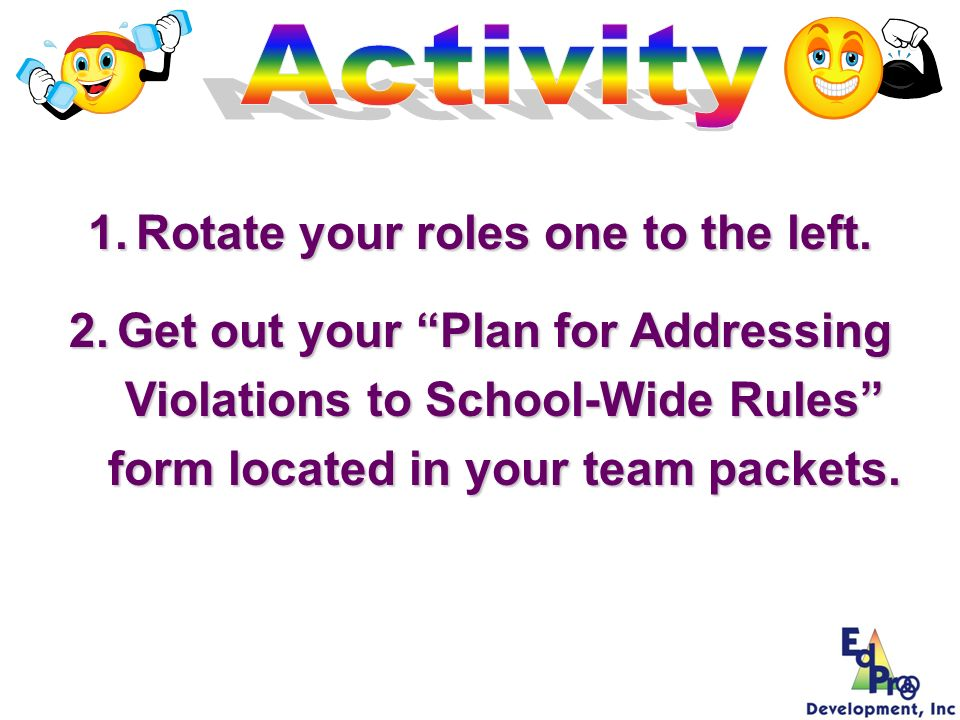 1.Rotate your roles one to the left. 2.Get out your Plan for Addressing Violations to School-Wide Rules form located in your team packets.
