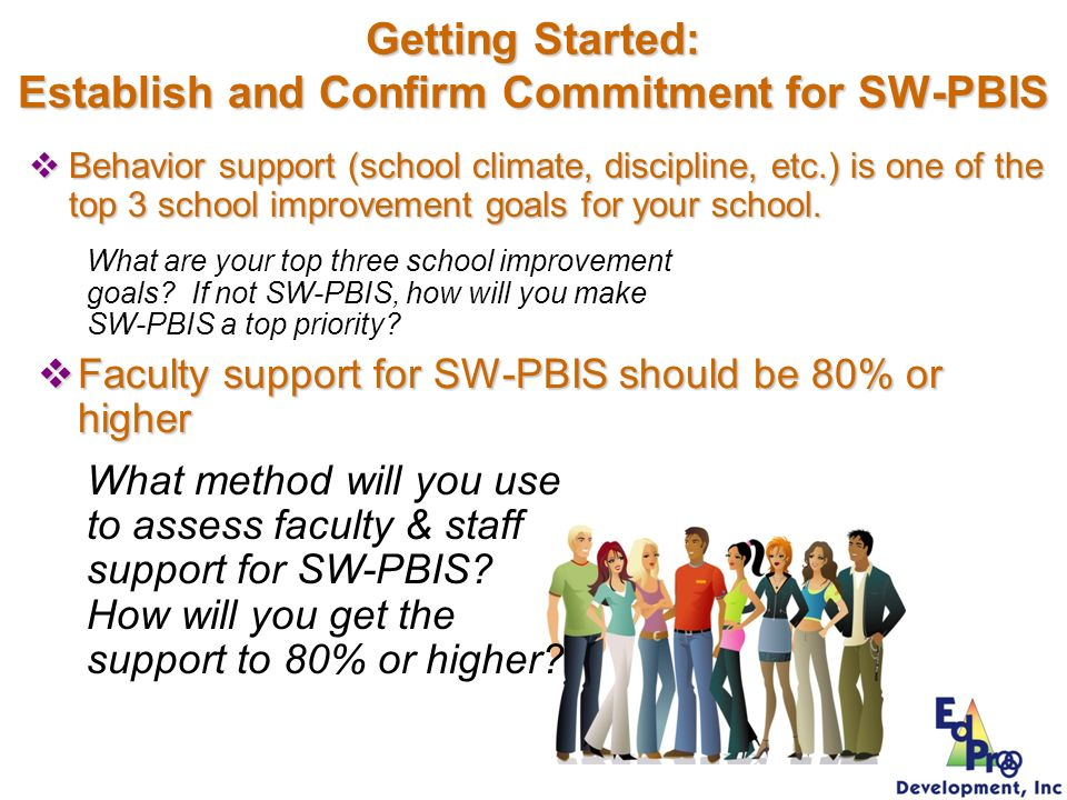 Getting Started: Establish and Confirm Commitment for SW-PBIS Behavior support (school climate, discipline, etc.) is one of the top 3 school improveme
