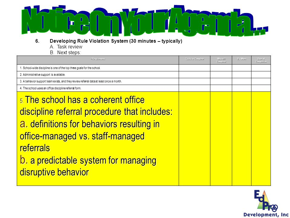 Develop an array of procedures for addressing violations to school-wide behavioral expectations Clearly define behavior problems such that definitions are mutually exclusive and understood by all staff.