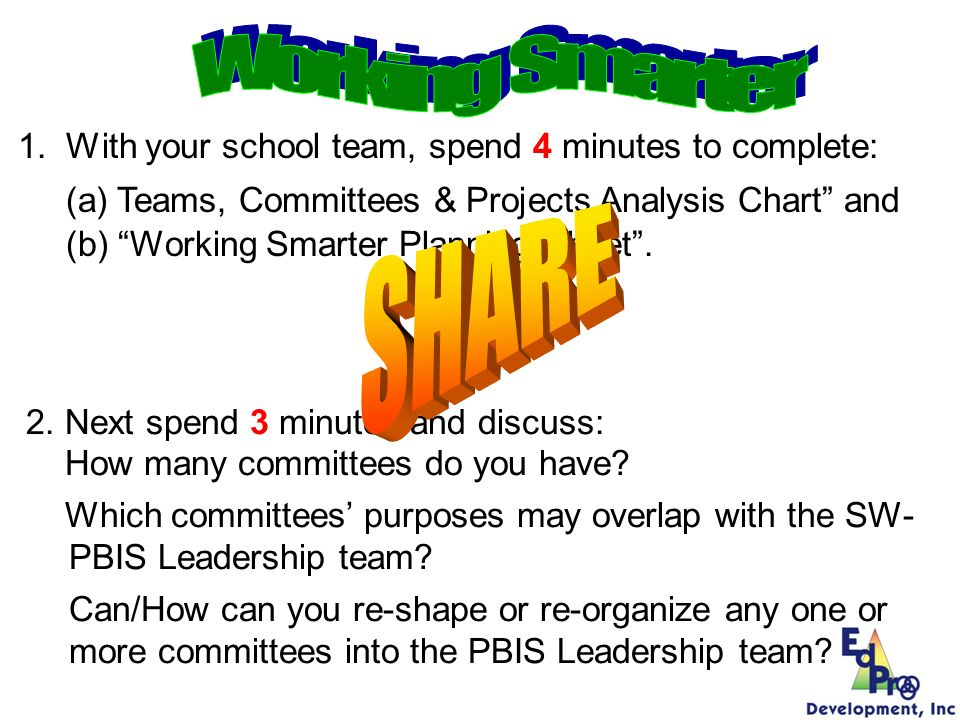 1.With your school team, spend 4 minutes to complete: (a) Teams, Committees & Projects Analysis Chart and (b) Working Smarter Planning Sheet. 2. Next