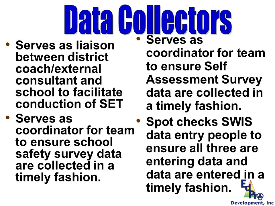 Serves as liaison between district coach/external consultant and school to facilitate conduction of SET Serves as coordinator for team to ensure schoo