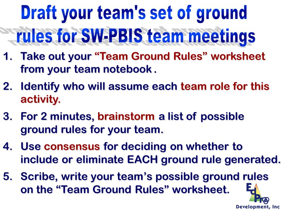 1.Take out your Team Ground Rules worksheet from your team notebook. 2.Identify who will assume each team role for this activity. 3.For 2 minutes, bra