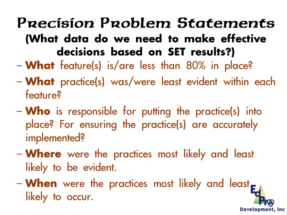 Making Effective, Data-Based Decisions from SET Results 1.