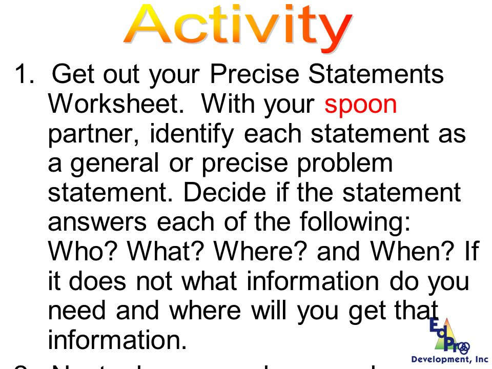 Precise Statements Worksheet Problem Statement General Precise.