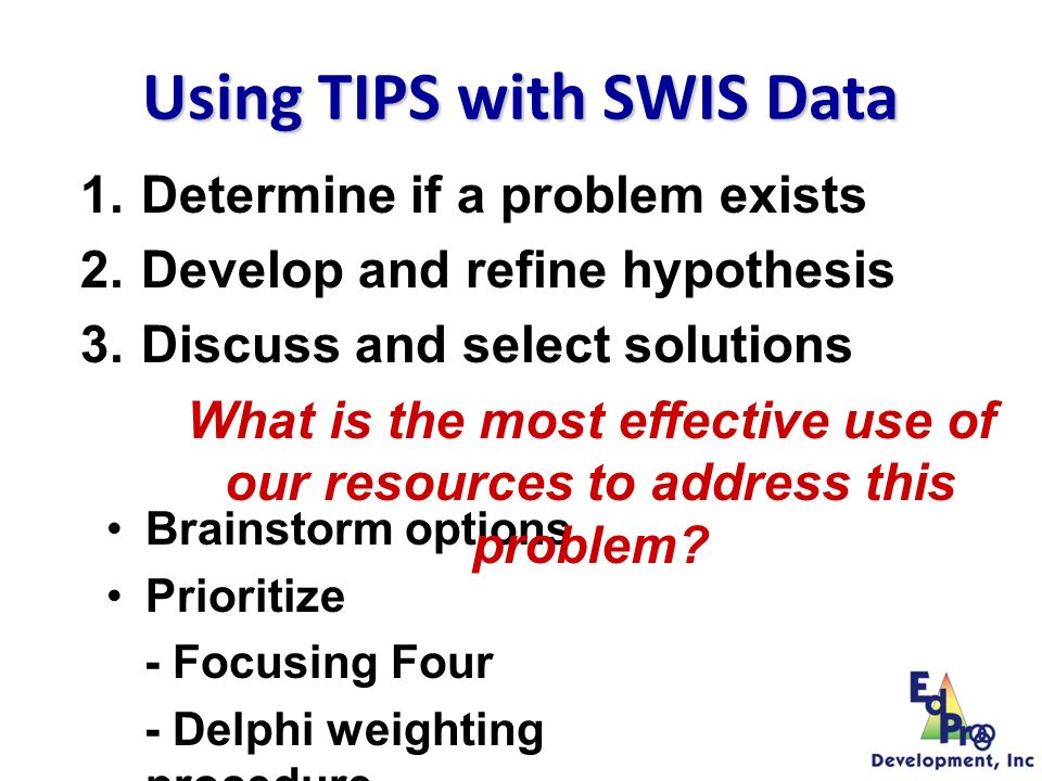 Collect and Use and UseData Review Status and Identify Problems Develop and Refine Hypotheses Discuss and Select Solutions Develop and Implement Action Plan Evaluate and Revise Action Plan Problem Solving Foundations Team Initiated Problem Solving (TIPS) Model