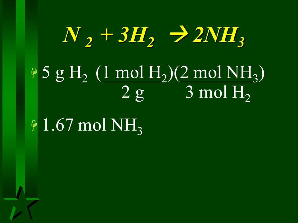 PV = nRT H At STP volume of NH 3 produced? H P = 1.00 atm H V = ? H R =.0821 atm-L/K-mol H T = 273 K H n = 5g H 2 ___mol NH 3 ?