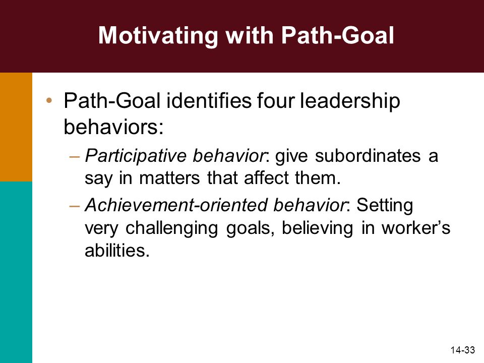 14-33 Motivating with Path-Goal Path-Goal identifies four leadership behaviors: –Participative behavior: give subordinates a say in matters that affec