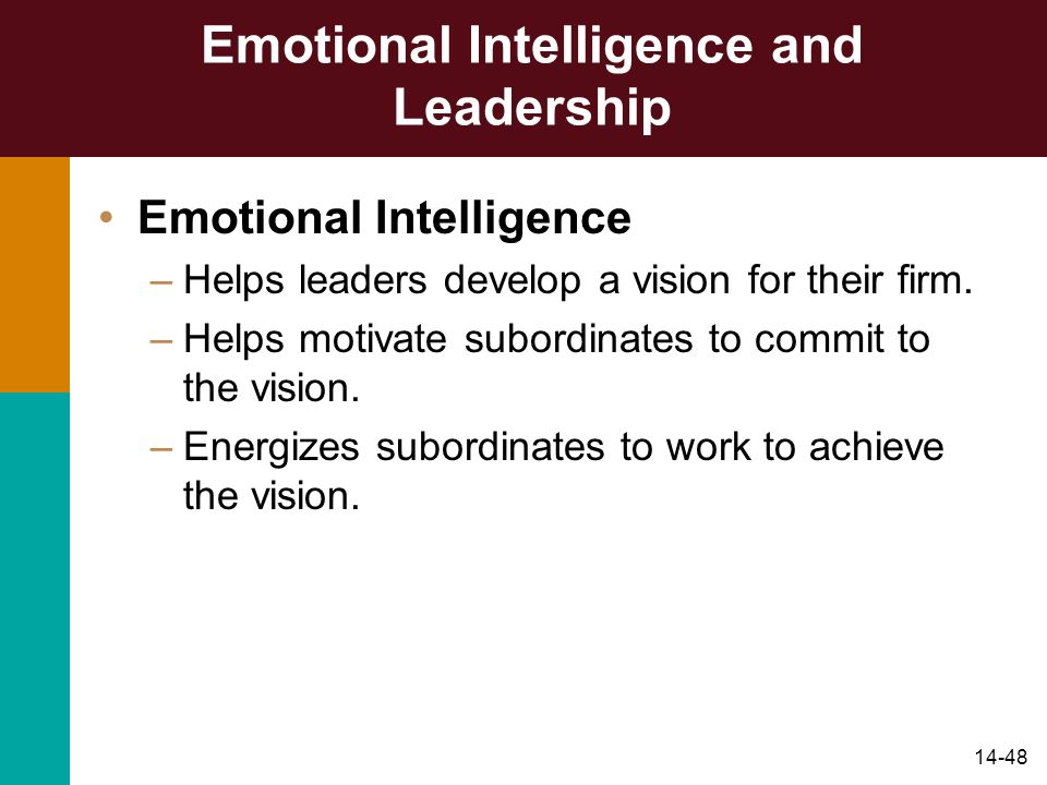 14-48 Emotional Intelligence and Leadership Emotional Intelligence –Helps leaders develop a vision for their firm. –Helps motivate subordinates to com