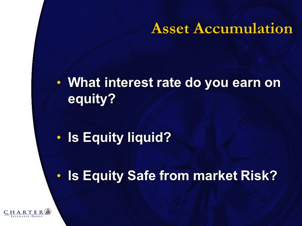 Asset Accumulation What interest rate do you earn on equity.