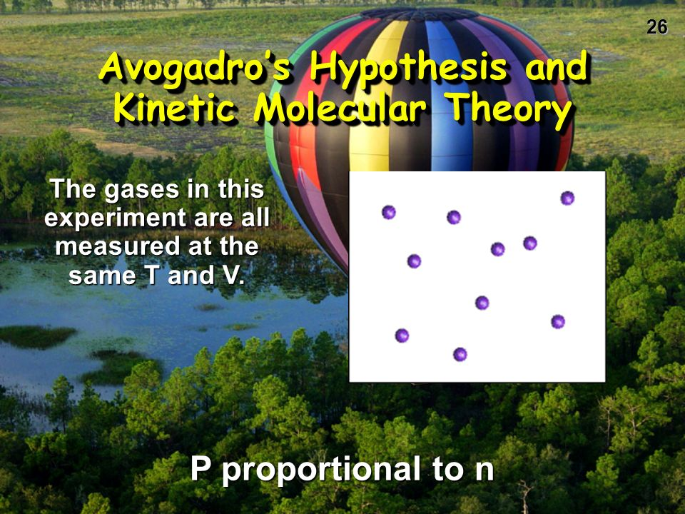 25 Avogadros Hypothesis Equal volumes of gases at the same T and P have the same number of molecules. V = n (RT/P) = kn V and n are directly related.