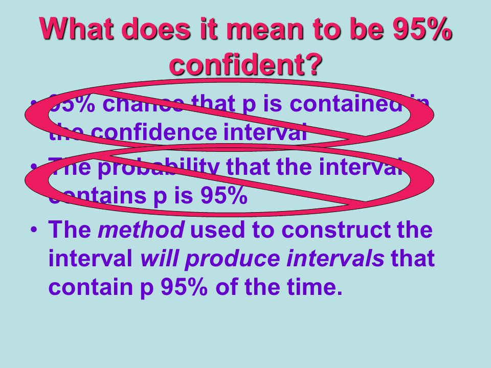 What does it mean to be 95% confident.