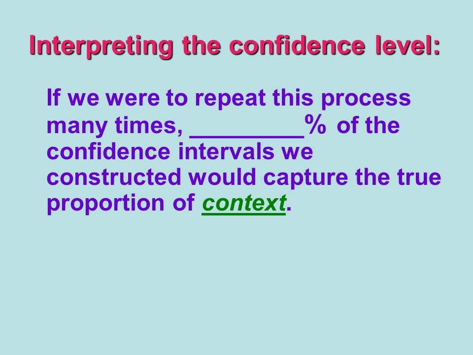 Interpreting the confidence level: If we were to repeat this process many times, ________% of the confidence intervals we constructed would capture the true proportion of context.
