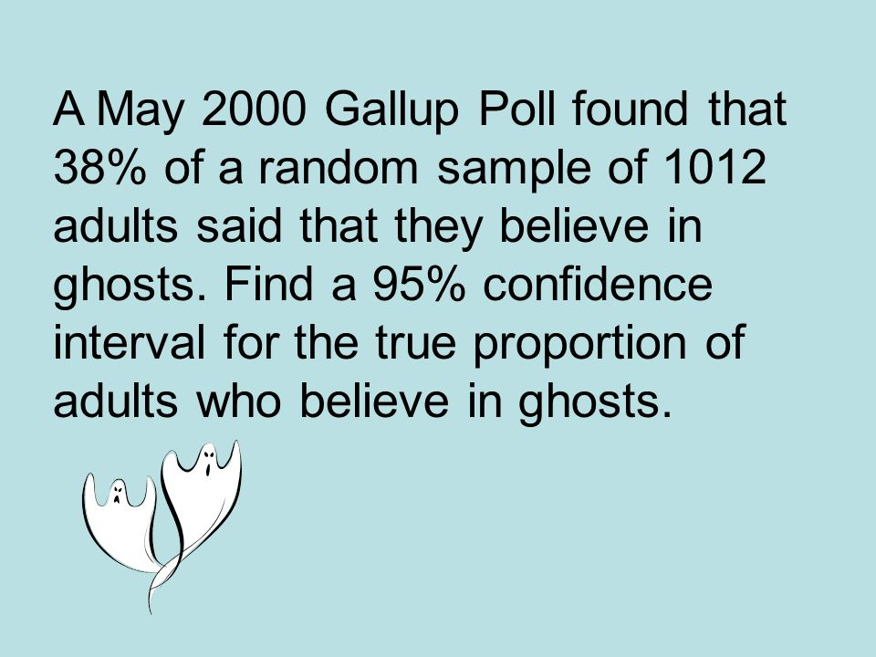 A May 2000 Gallup Poll found that 38% of a random sample of 1012 adults said that they believe in ghosts.