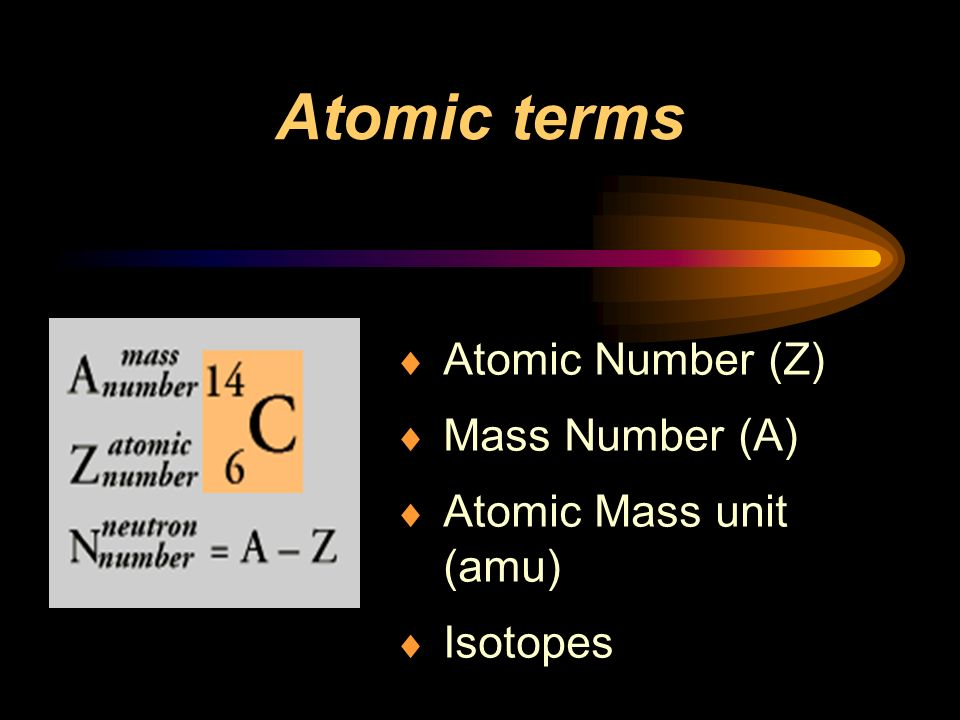 Atomic terms Atomic Number (Z) Mass Number (A) Atomic Mass unit (amu) Isotopes