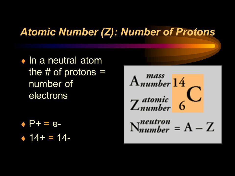 Atomic Number (Z): Number of Protons In a neutral atom the # of protons = number of electrons P+ = e- 14+ = 14-