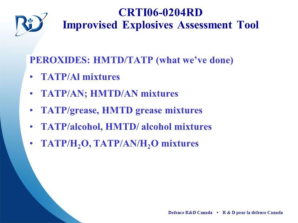 Defence R&D Canada R & D pour la défense Canada PEROXIDES: HMTD/TATP (what weve done) TATP/Al mixtures TATP/AN; HMTD/AN mixtures TATP/grease, HMTD gre