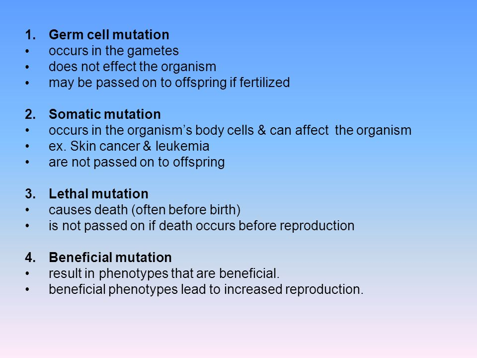 1.Germ cell mutation occurs in the gametes does not effect the organism may be passed on to offspring if fertilized 2.Somatic mutation occurs in the o