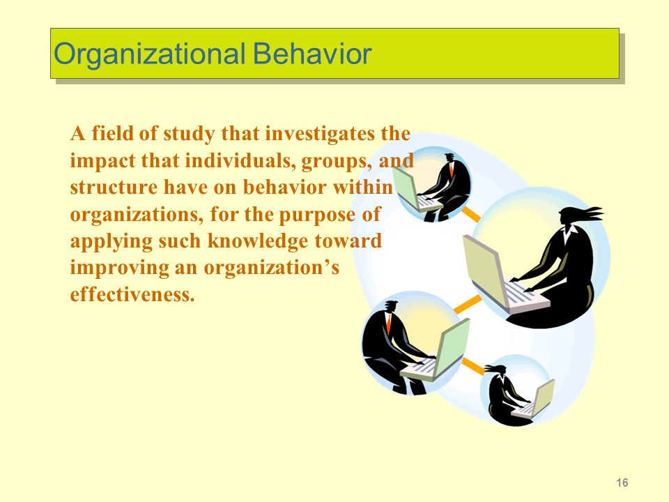 16 Organizational Behavior A field of study that investigates the impact that individuals, groups, and structure have on behavior within organizations, for the purpose of applying such knowledge toward improving an organizations effectiveness.